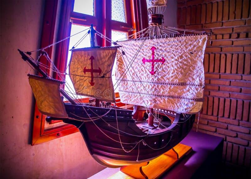 Replica van Christopher Columbus-schip stock afbeeldingen