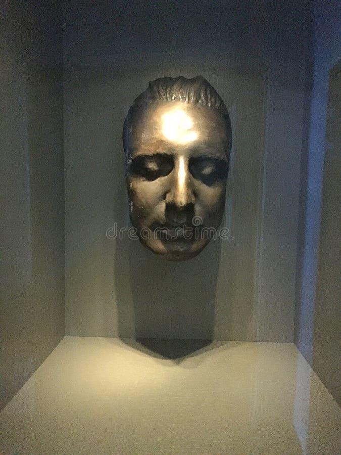 REPLICA VAN HET DOODSmasker VAN OOSTENRIJKSE COMPONIST WOLFGANG AMADEUS MOZART royalty-vrije stock afbeelding