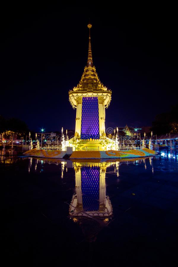 Replica van het Koninklijke Crematorium voor de Koninklijke Crematie van Zijn Majesteitskoning Bhumibol Adulyadej in Herdenkingsb stock afbeeldingen
