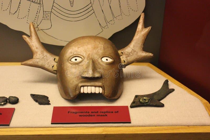 Replica van Houten die Masker in Etowah-Hoopcultuur wordt gebruikt royalty-vrije stock afbeeldingen