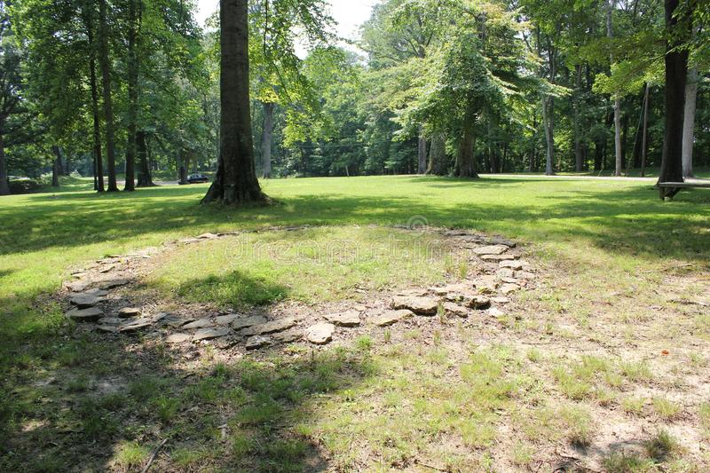 Replica of 2000 Year Old Stone Circles in Fort Ancient, Ohio royalty free stock photography