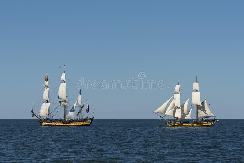 Replicas of historic ships sailing royalty free stock photography