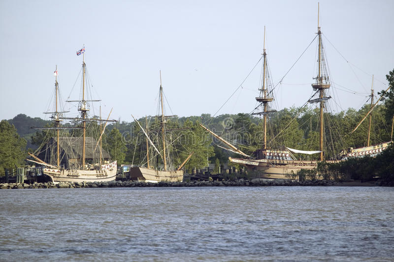 Replicas of The Susan Constant, Godspeed and Discovery ship. S that brought English colonists to Jamestown, Virginia in 1607 stock photos