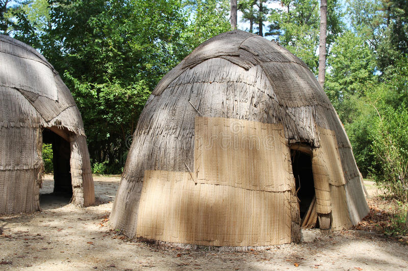 Replicas of traditional native American houses. At Jamestown settlement, Virginia stock images