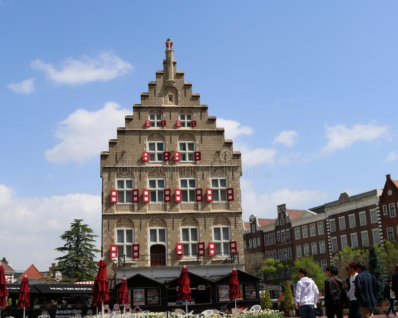 Netherlands in Japan. Replicated Gouda old city hall in Huis Ten Bosch, which is the largest theme park located in Nagasaki, Japan. It is known as little Europe royalty free stock images