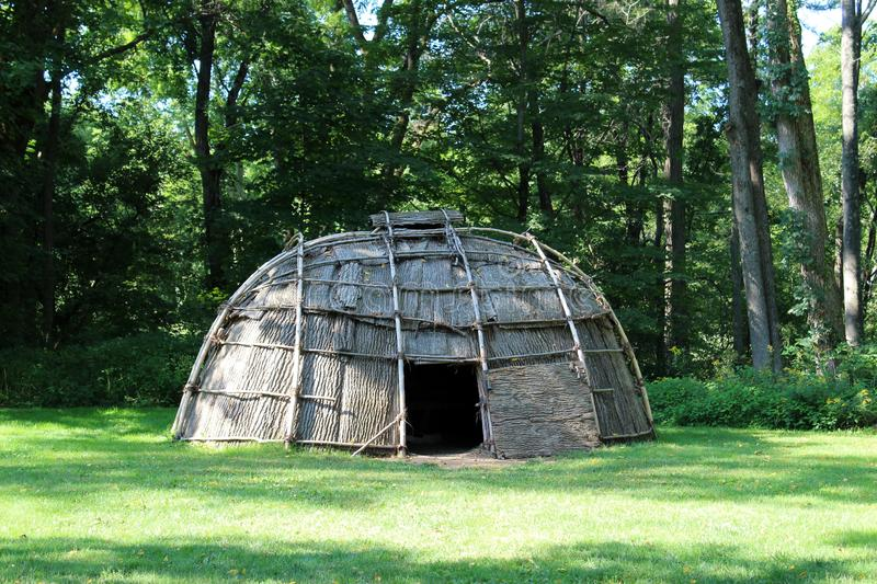 Replicated wigwam of historic times on Huguenot Street, New Paltz, New York, 2018. Craftsmanship seen in replicated wigwam that would have existed hundreds of royalty free stock photos