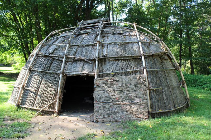 Replicated wigwam of historic times on Huguenot Street, New Paltz, New York, 2018. Craftsmanship seen in replicated wigwam that would have existed hundreds of stock image