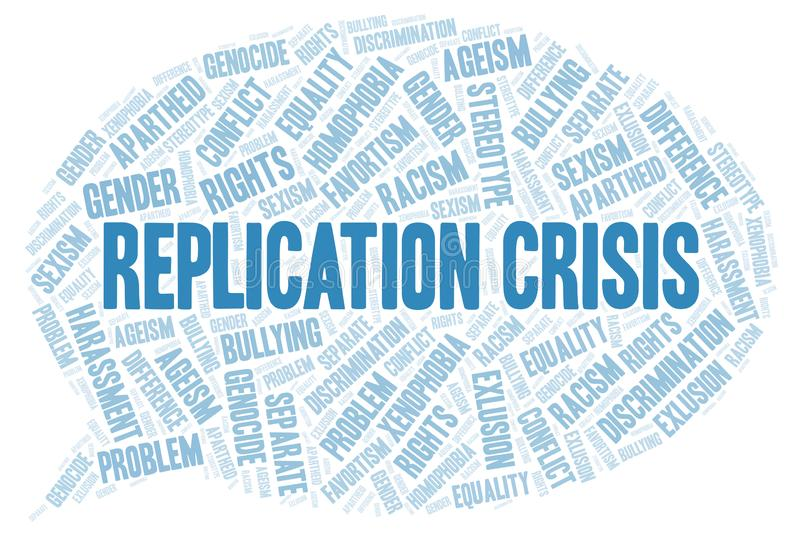 Replication Crisis - type of discrimination - word cloud. Wordcloud made with text only royalty free illustration