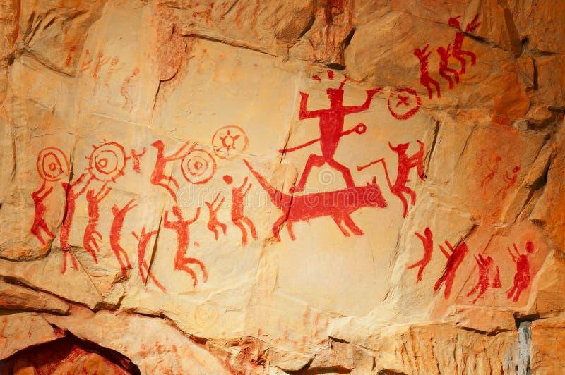 Repliche umane preistoriche dell'affresco illustrazione di stock
