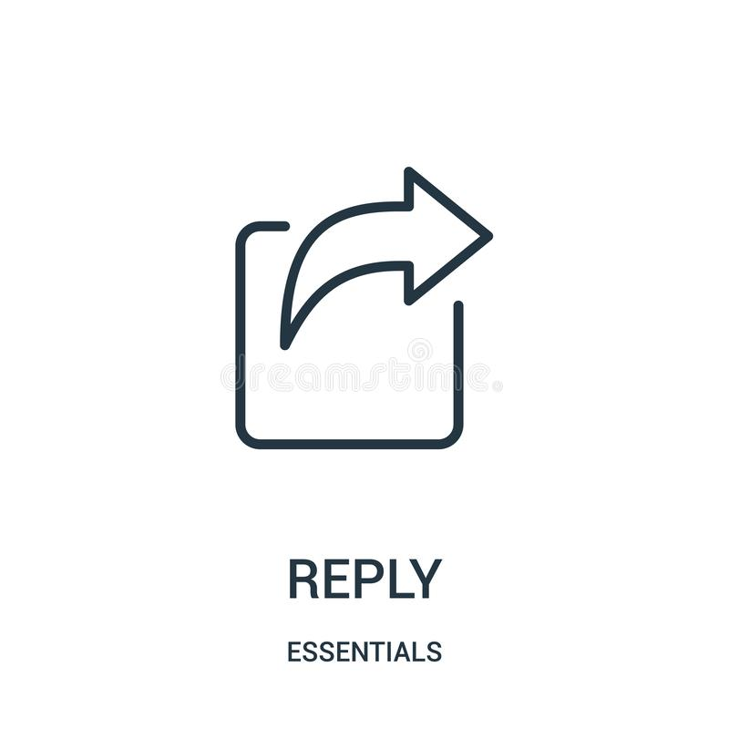 reply icon vector from essentials collection. Thin line reply outline icon vector illustration. Linear symbol for use on web and stock illustration