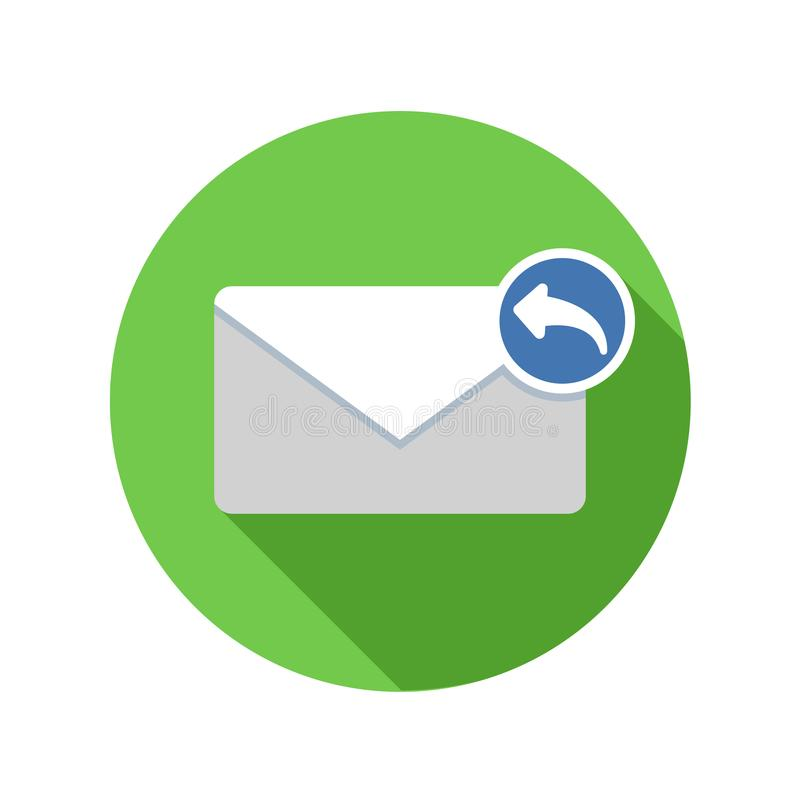Reply mail icon. Email icon with long shadow. royalty free illustration