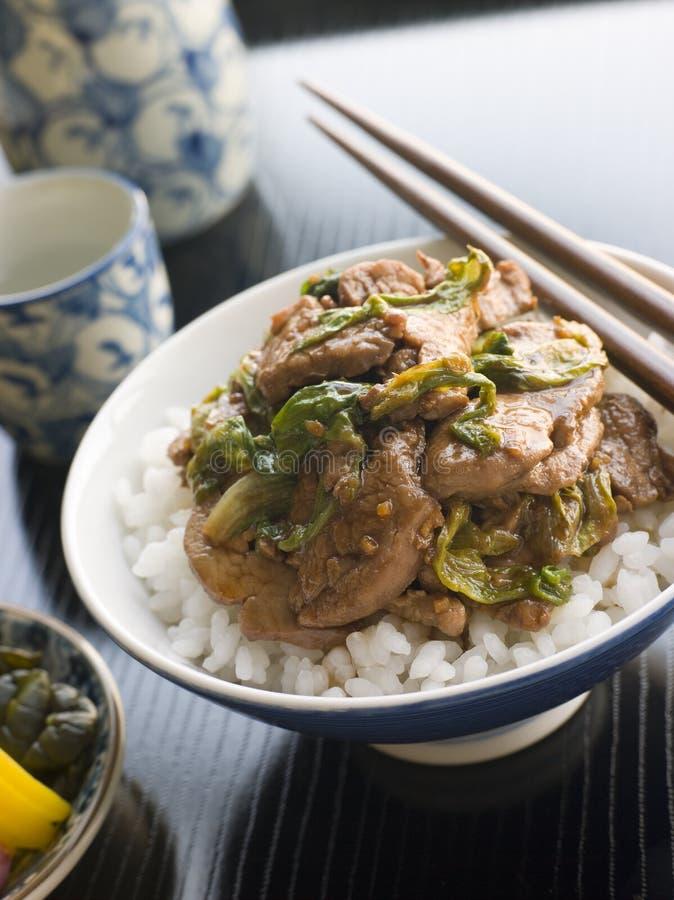 Repolho fritado Wok da carne de porco e do gengibre no arroz foto de stock royalty free