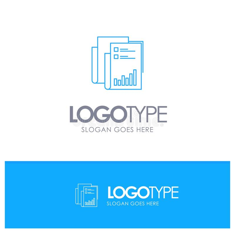 Report, Analytics, Audit, Business, Data, Marketing, Paper Blue outLine Logo with place for tagline vector illustration