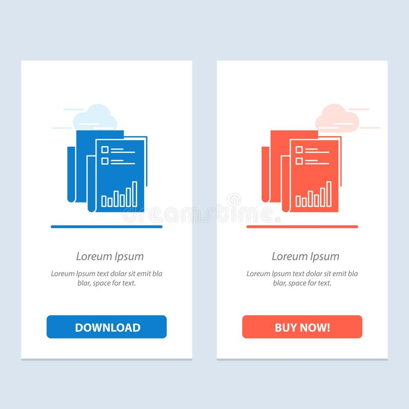 Report, Analytics, Audit, Business, Data, Marketing, Paper  Blue and Red Download and Buy Now web Widget Card Template vector illustration