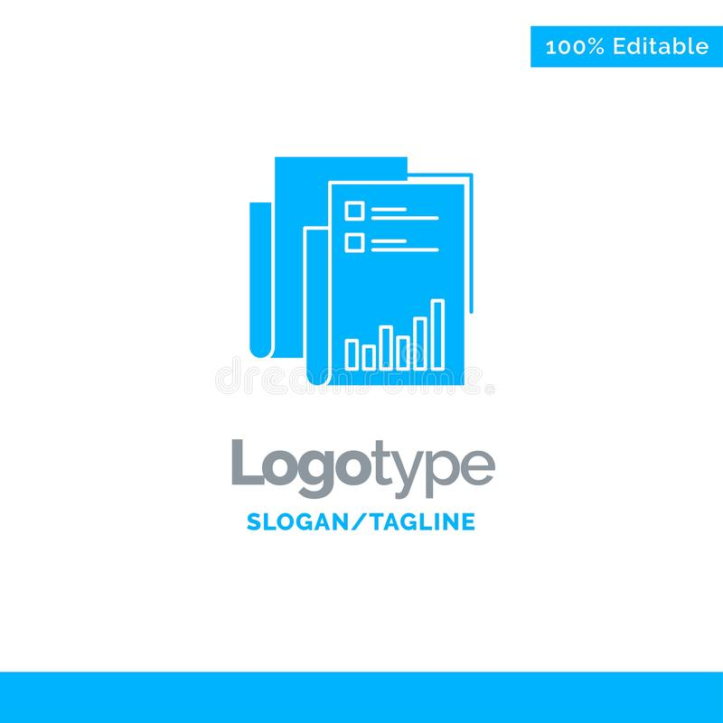 Report, Analytics, Audit, Business, Data, Marketing, Paper Blue Solid Logo Template. Place for Tagline vector illustration