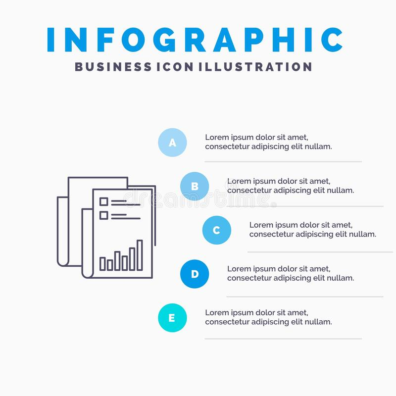 Report, Analytics, Audit, Business, Data, Marketing, Paper Line icon with 5 steps presentation infographics Background vector illustration