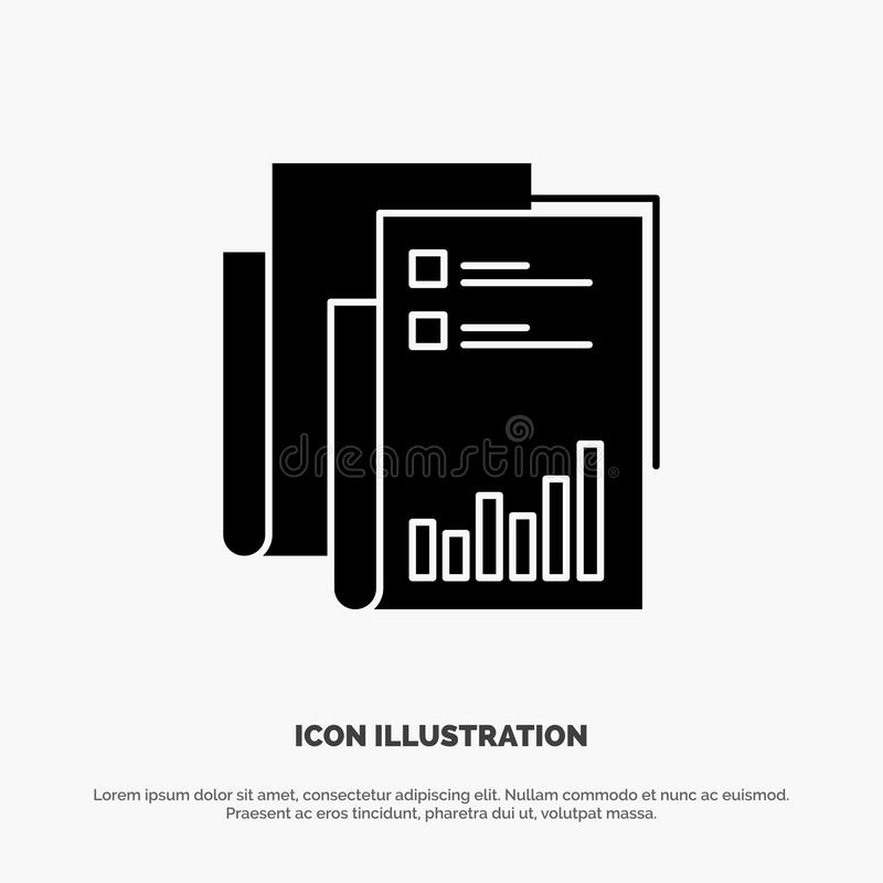 Report, Analytics, Audit, Business, Data, Marketing, Paper solid Glyph Icon vector stock illustration