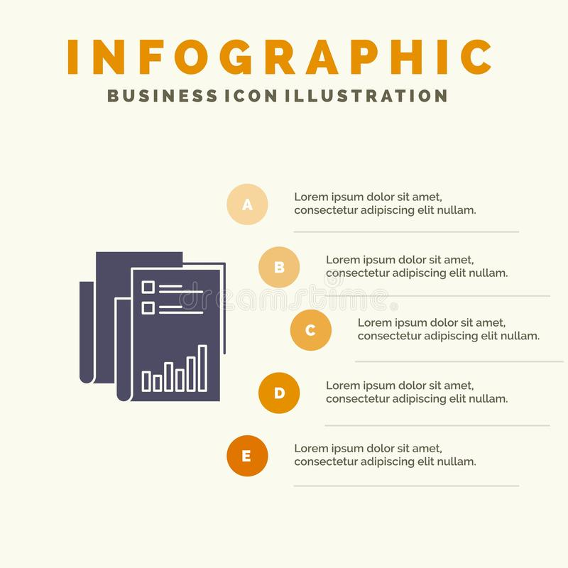 Report, Analytics, Audit, Business, Data, Marketing, Paper Solid Icon Infographics 5 Steps Presentation Background royalty free illustration