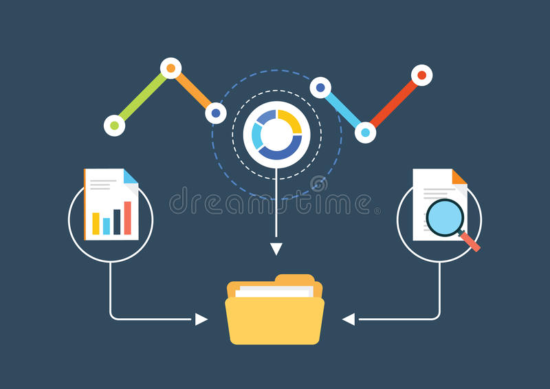 Report on analytics in a folder. Analytics for business, website SEO optimization. Report on analytics in a folder royalty free illustration