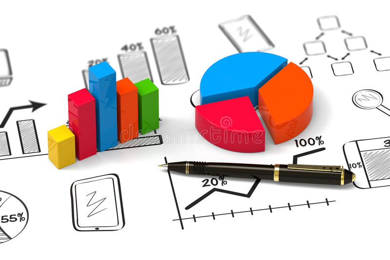 Report as concept. Showing business and financial report as concept stock illustration