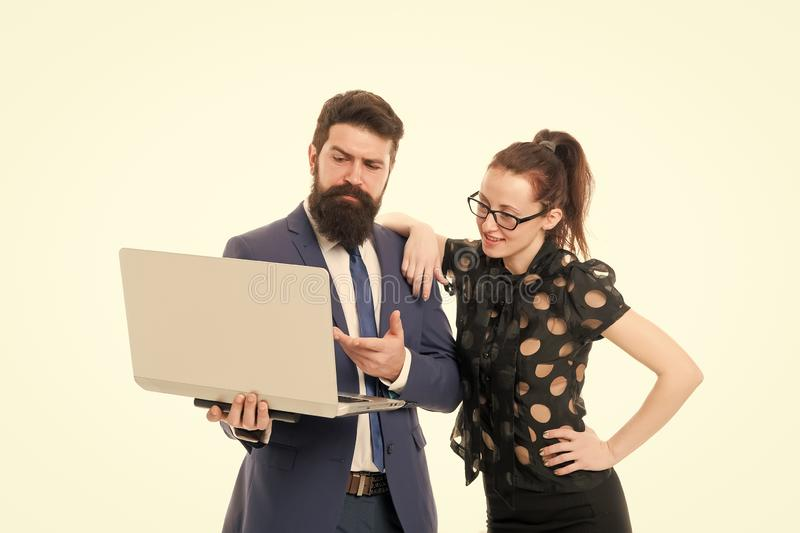 Report business result. Financial report. Financial indicators. Couple working using laptop. Business lady check what is. Done. Lady boss satisfied with royalty free stock images
