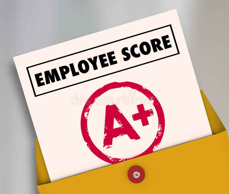 Review a Plus Report Card Great Score Rating Evaluation Stock