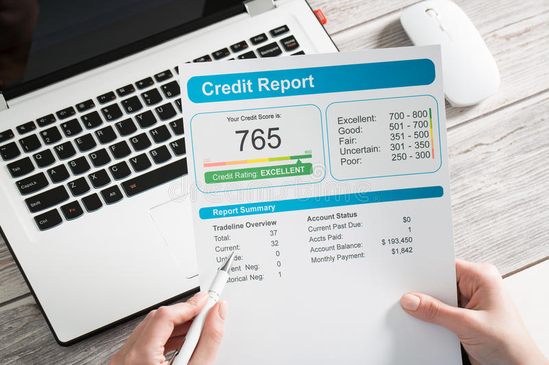 Report credit score banking borrowing application risk form stock photography