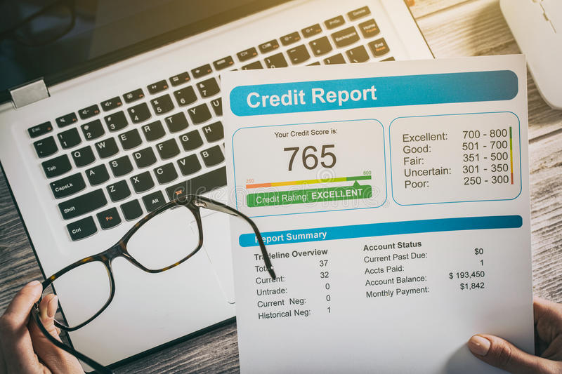 Report credit score banking borrowing application risk form royalty free stock image
