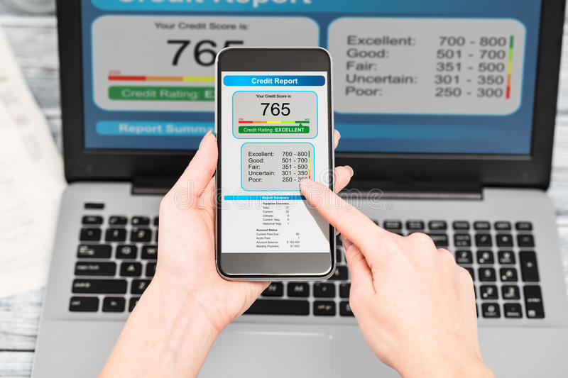 Report credit score banking borrowing application risk form stock image