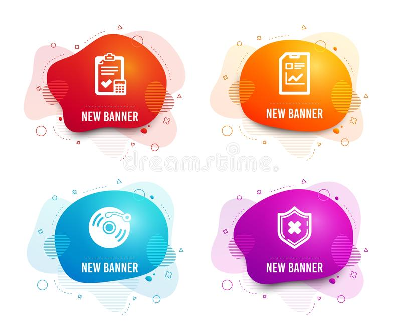 Report document, Accounting checklist and Vinyl record icons. Reject protection sign. Vector vector illustration