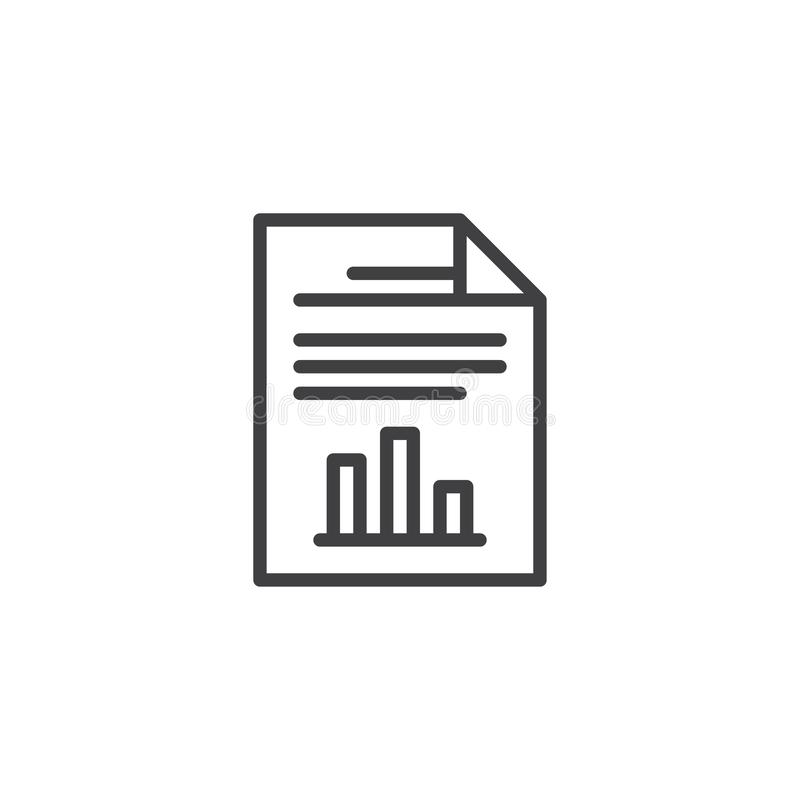 Report document file outline icon. Linear style sign for mobile concept and web design. Paper document with business graph simple line vector icon. Symbol royalty free illustration