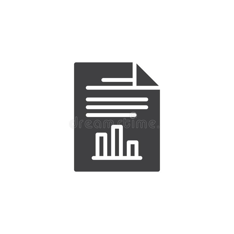 Report document file vector icon. Filled flat sign for mobile concept and web design. Paper document with business graph simple solid icon. Symbol, logo royalty free illustration