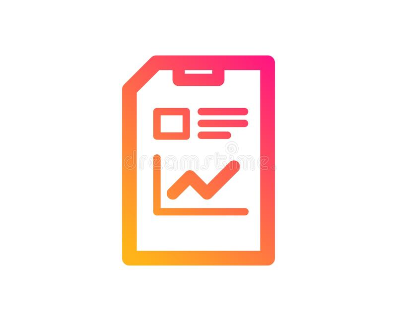 Report Document icon. File sign. Vector. Report Document icon. Analysis and Statistics File sign. Paper page concept symbol. Classic flat style. Gradient report royalty free illustration