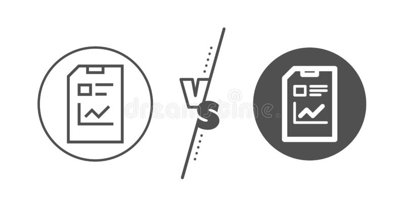 Report Document line icon. File sign. Vector. Analysis and Statistics File sign. Versus concept. Report Document line icon. Paper page concept symbol. Line vs vector illustration