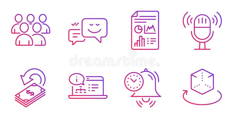 Report document, Online documentation and Time management icons set. Microphone, Group and Cashback signs. Vector. Report document, Online documentation and Time vector illustration