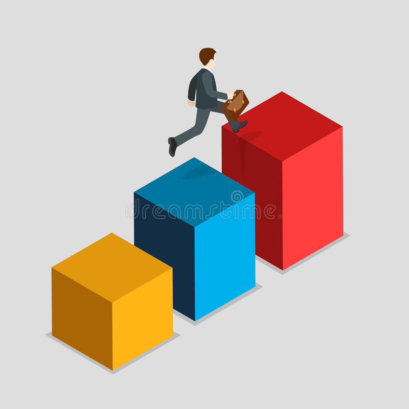 Report indicator rush business statistics flat isometric vector royalty free illustration
