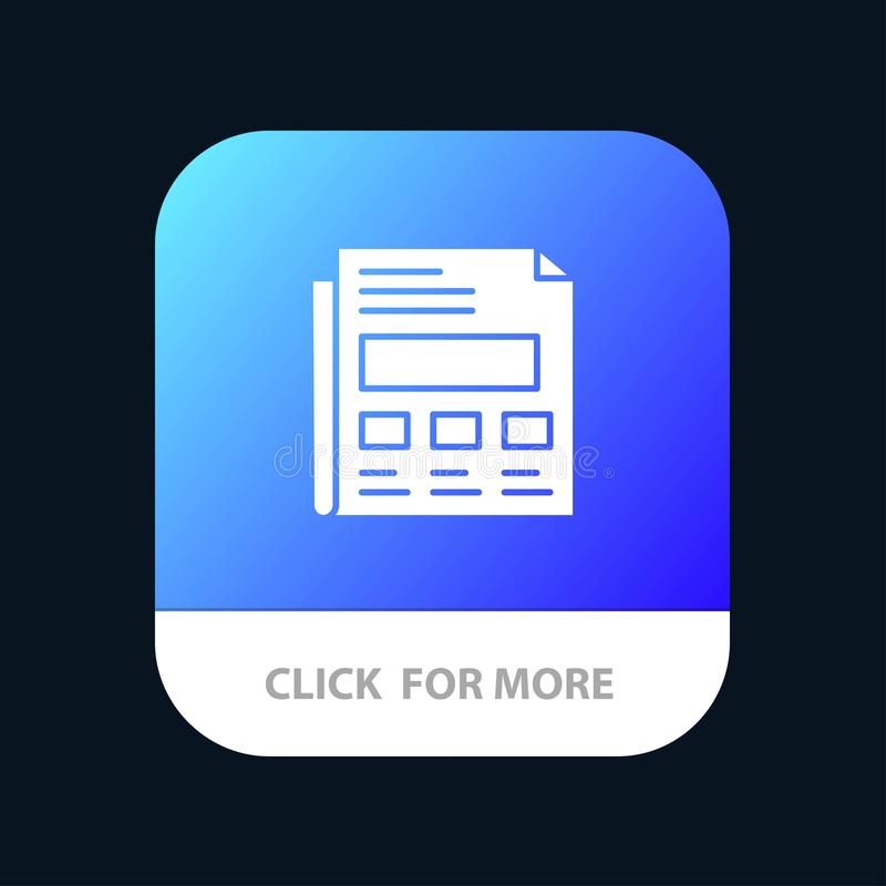Report, Paper, Sheet, Presentation Mobile App Button. Android and IOS Glyph Version vector illustration