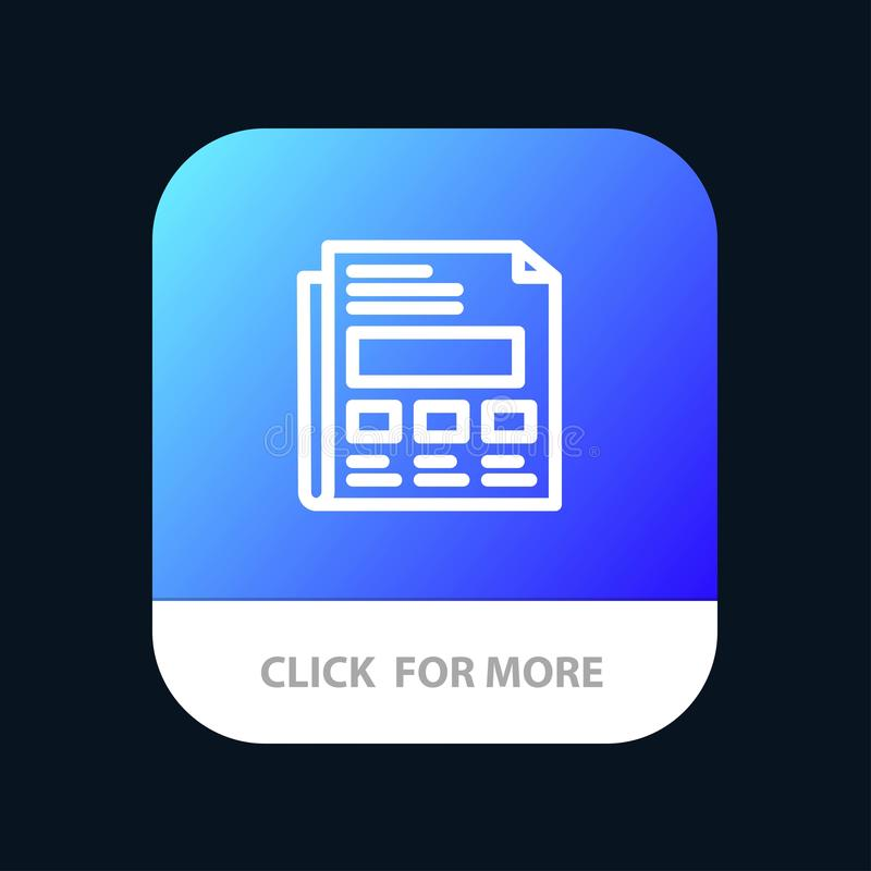 Report, Paper, Sheet, Presentation Mobile App Button. Android and IOS Line Version royalty free illustration