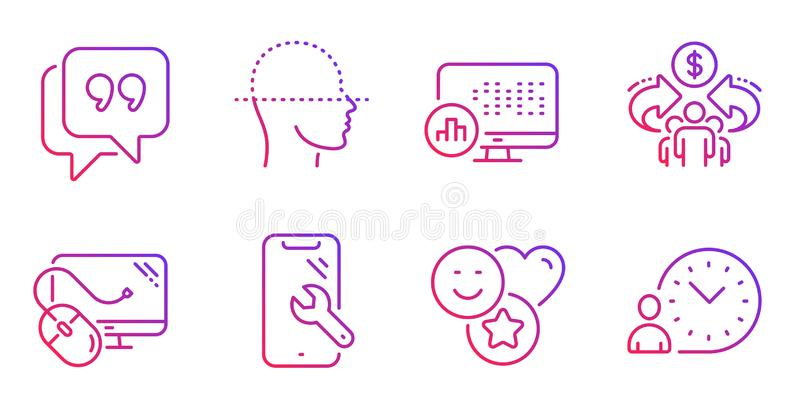 Report statistics, Quote bubble and Sharing economy icons set. Vector royalty free stock photography