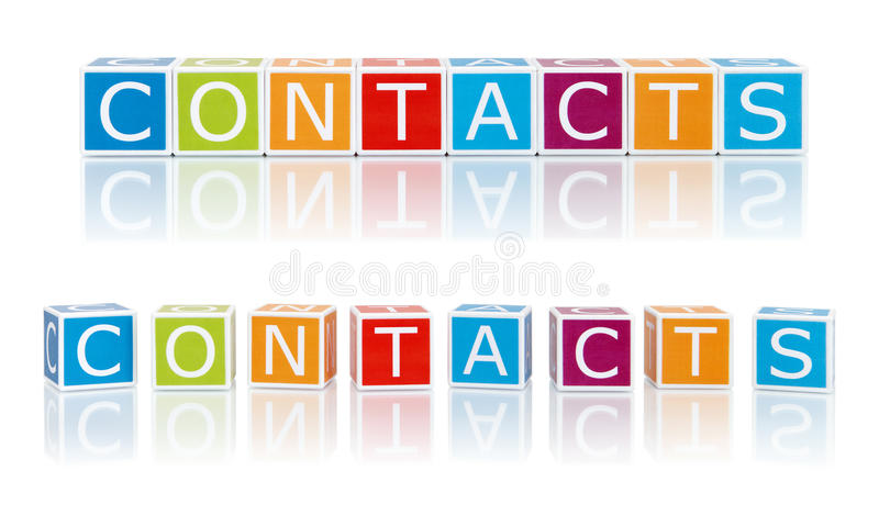 Report Topics With Color Blocks. Contacts. stock photos