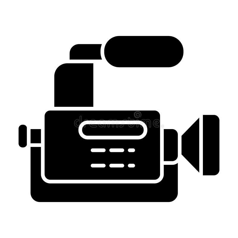 Reportaż kamery bryły ikona Kamera wideo wektorowa ilustracja odizolowywająca na bielu Kamera z mikrofonu glifu stylu projektem ilustracji