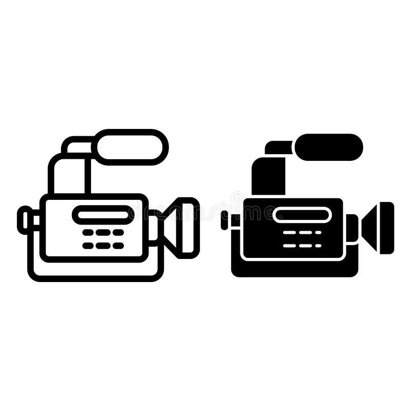Reportaż kamery linia i glif ikona Kamera wideo wektorowa ilustracja odizolowywająca na bielu Kamera z mikrofonu konturem ilustracji