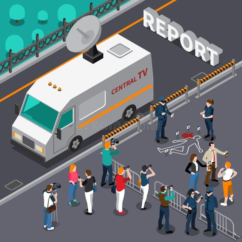 Reportaż Od morderstwo sceny Isometric ilustraci ilustracja wektor