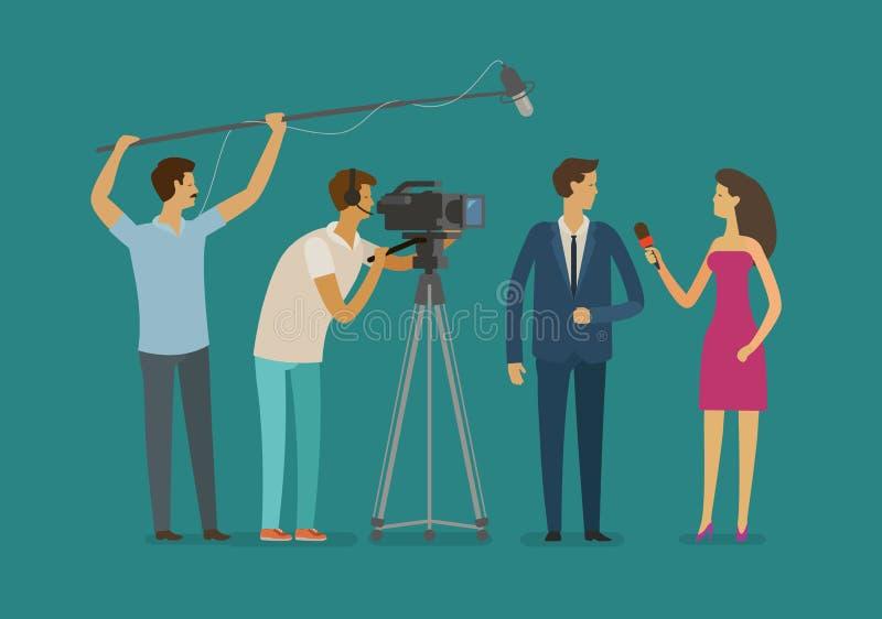 Reportaż, telewizyjny pojęcie Załogi lub dziennikarza wp8lywy wywiad obcy kreskówki kota ucieczek ilustraci dachu wektor royalty ilustracja