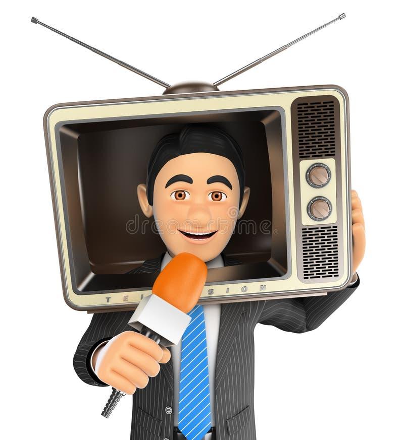 reporter 3D con una televisione d'annata nella testa e nel microfono illustrazione di stock