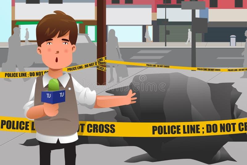 Reporter di notizie che lavora nella città illustrazione di stock