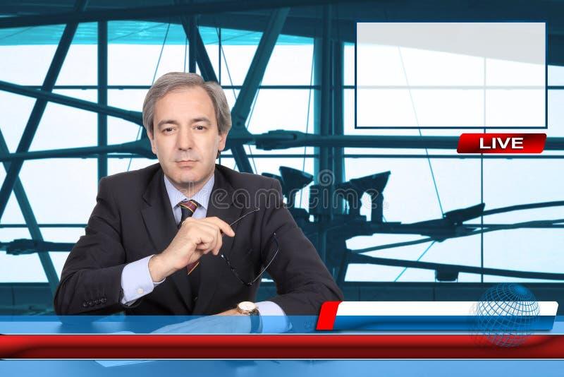Reporter di notizie della TV fotografie stock