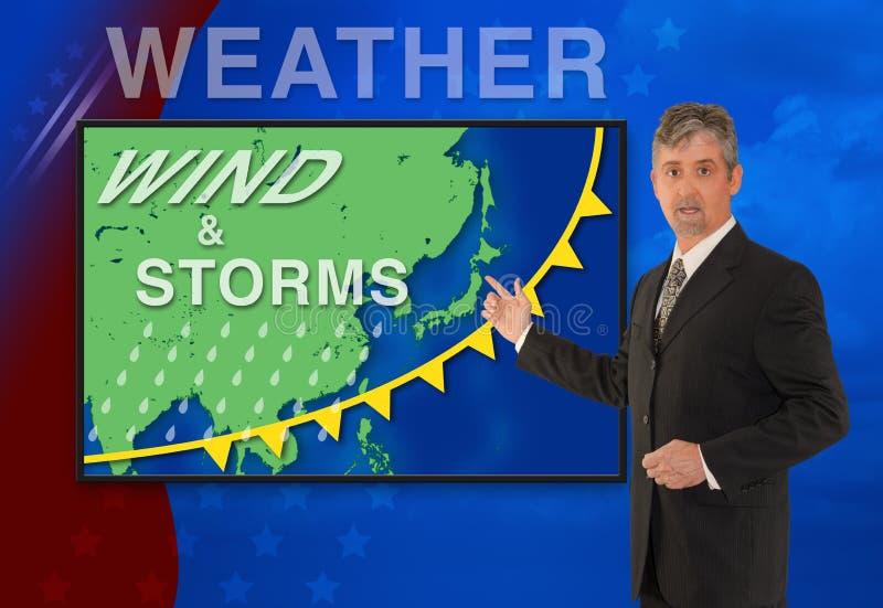 Reporter för anchorman för meteorolog för man för TVnyheternaväder med översikten av Asien på skärmen royaltyfria bilder