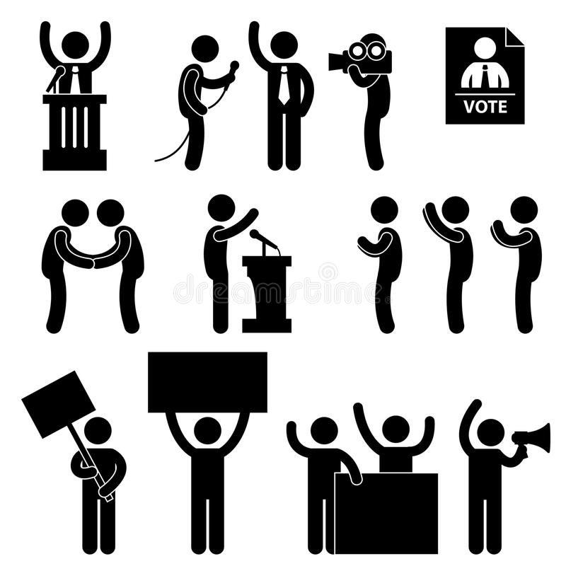 reporter för valpictogrampolitikar röstar stock illustrationer