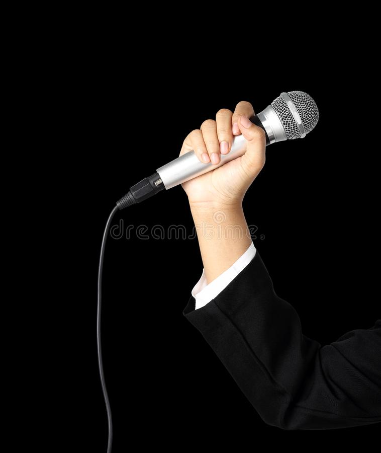 Reporter hand holding microphone isolated clipping path royalty free stock images